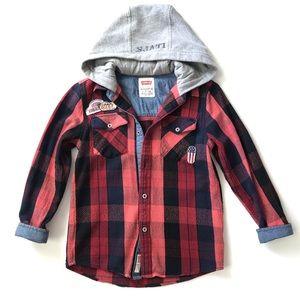 Levi's Plaid Hoodie Cotton Shirt /Jacket Size S